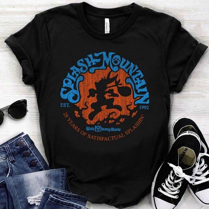 Splash Mountain Est 1992 D1Sney World 28 Years Of Satisfactual Splashin Black T Shirt Men And Women S-6XL Cotton