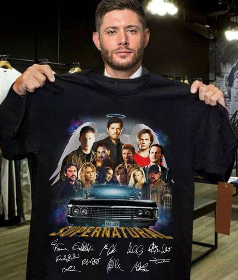 Spn Family Supernatural Movie Characters Racing Respect Idea For Spn Fan Black T Shirt Men And Women S-6XL Cotton