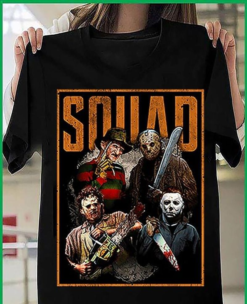 Squad Horror Movie Characters T Shirt Halloween Costume Halloween Gift Idea Black T Shirt Men And Women S-6XL Cotton
