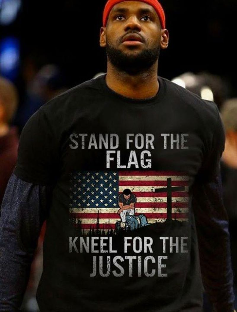Stand For The Flag Kneel For The Justice Independence Day 4th Of July Black T Shirt Men/ Woman S-6XL Cotton