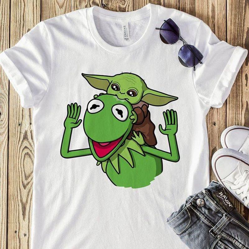 Star Wars Baby Yoda Kermit The Frog Fans Gift White T Shirt Men And Women S-6XL Cotton