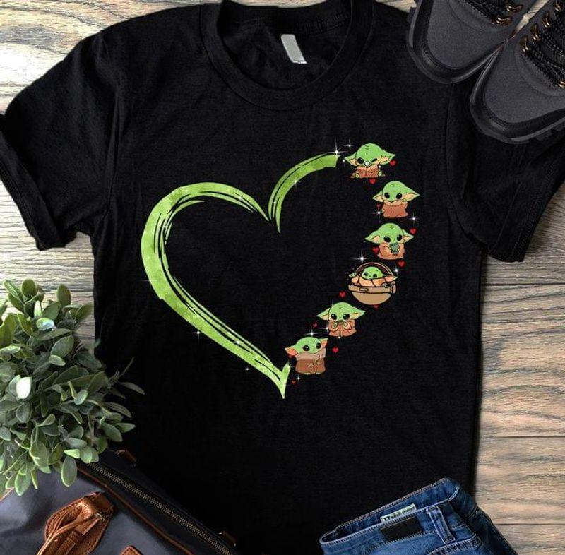 Star Wars Baby Yoda Tee Cute Baby Yoda Heart Love Black T Shirt Men And Women S-6XL Cotton
