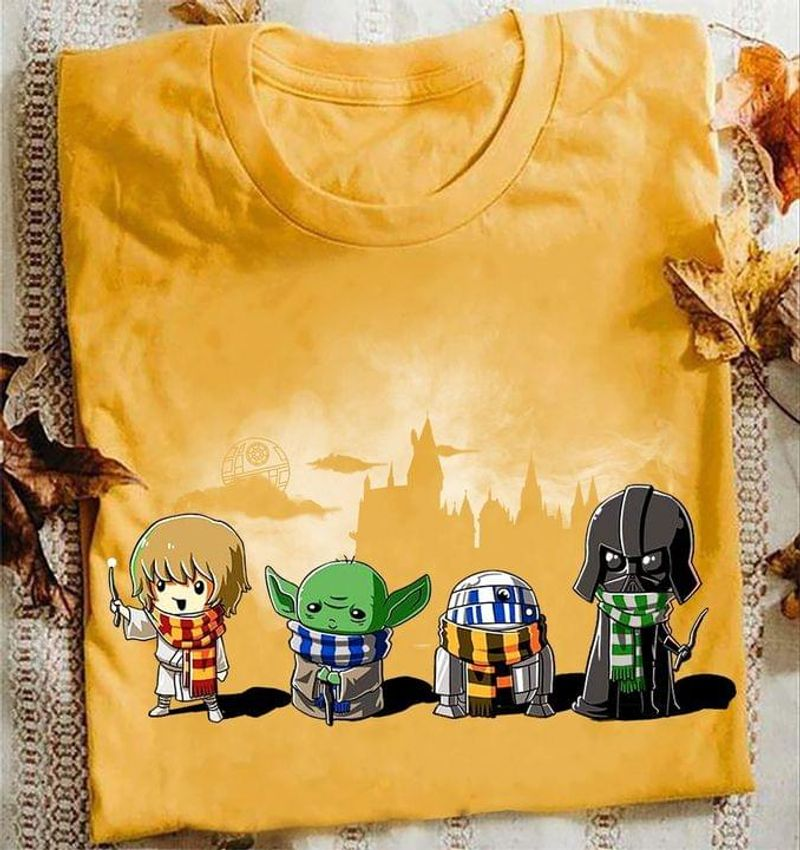Star Wars Character Baby Yoda Baby Darth Vader  Parody Harry Potter Gold T Shirt Men And Women S-6XL Cotton