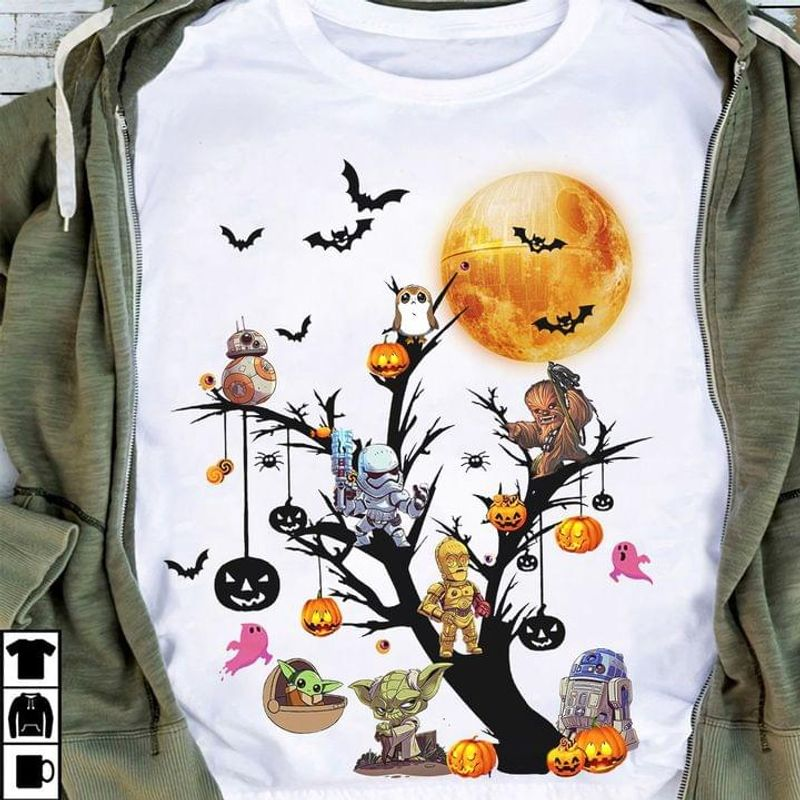Star Wars Characters Halloween Jack-o'-latern Tree Halloween Gift Idea White T Shirt Men And Women S-6XL Cotton