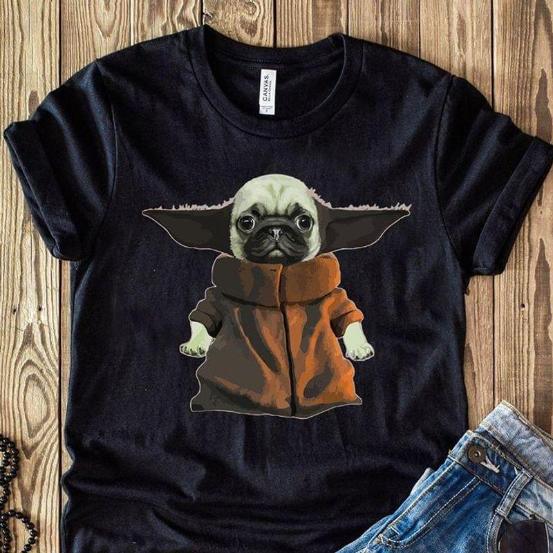 Star Wars Fans Baby Yoda And Bull Dog Dog Lover Black T Shirt Men And Women S-6XL Cotton