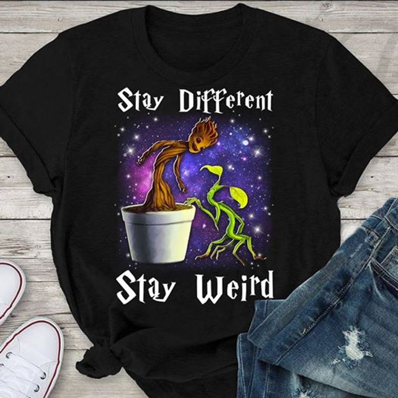 Stay Diferent Stay Weird The Groot T Shirt Black A4