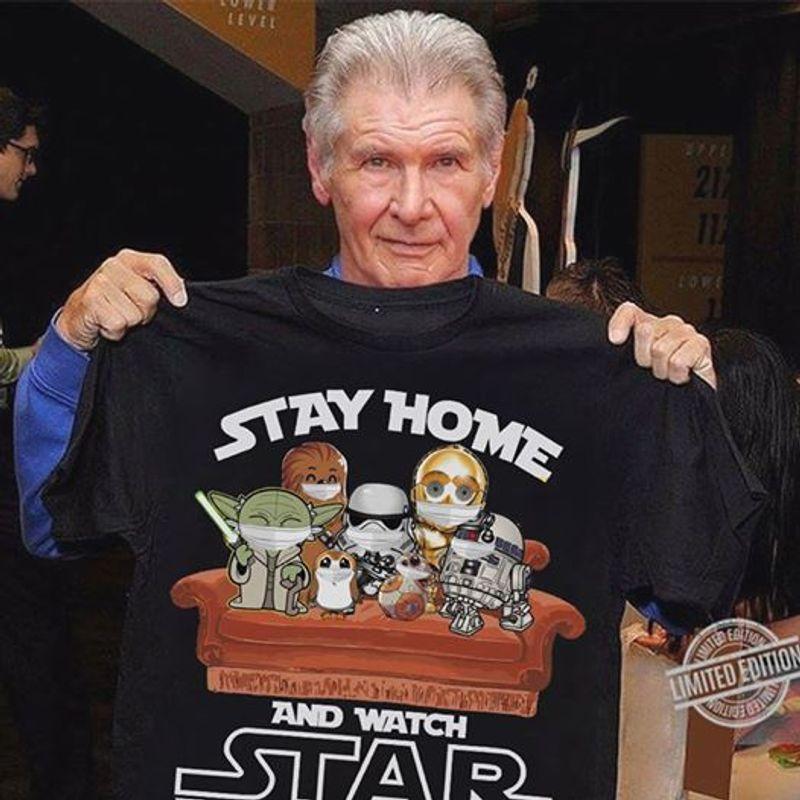 Stay Home And Watch Star War Chibi T Shirt Black