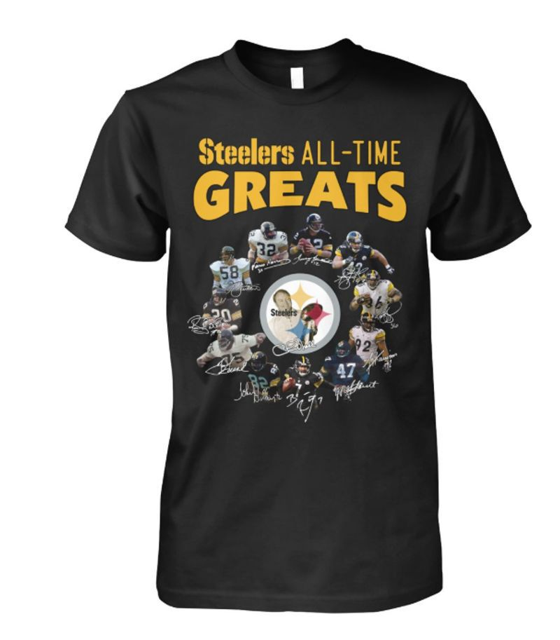 Steelers All Time Greats Signatures T-shirt Black