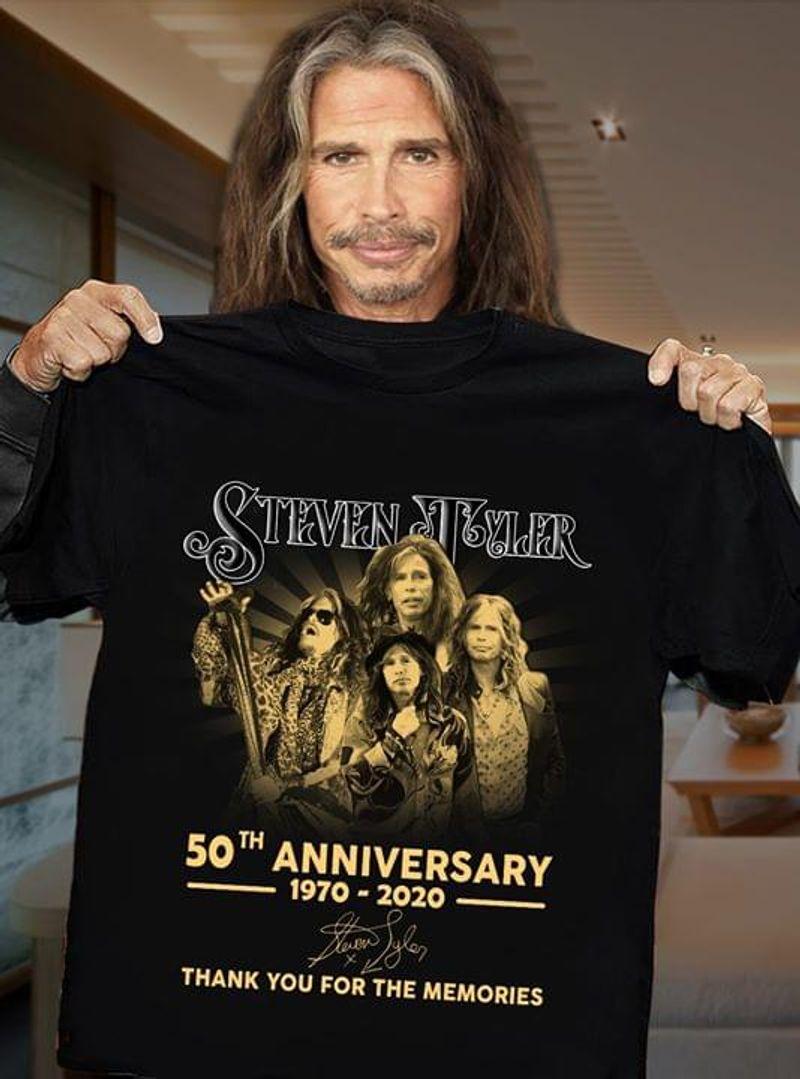 Steven Tyler 50th Anniversary 1970-2020 T-Shirt Steven Tyler Signature Black T Shirt Men And Women S-6XL Cotton