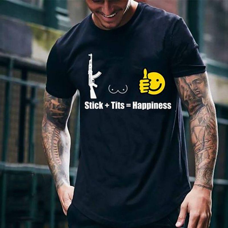 Stick Tits Happiness Gun Smile Face  T-shirt Black B7