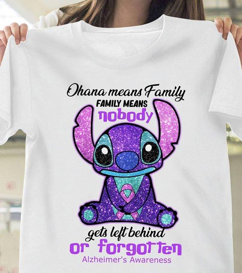 Stitch Alzheimer'S Awareness Ohana Means Family Or Forgotten White T Shirt Men/ Woman S-6XL Cotton