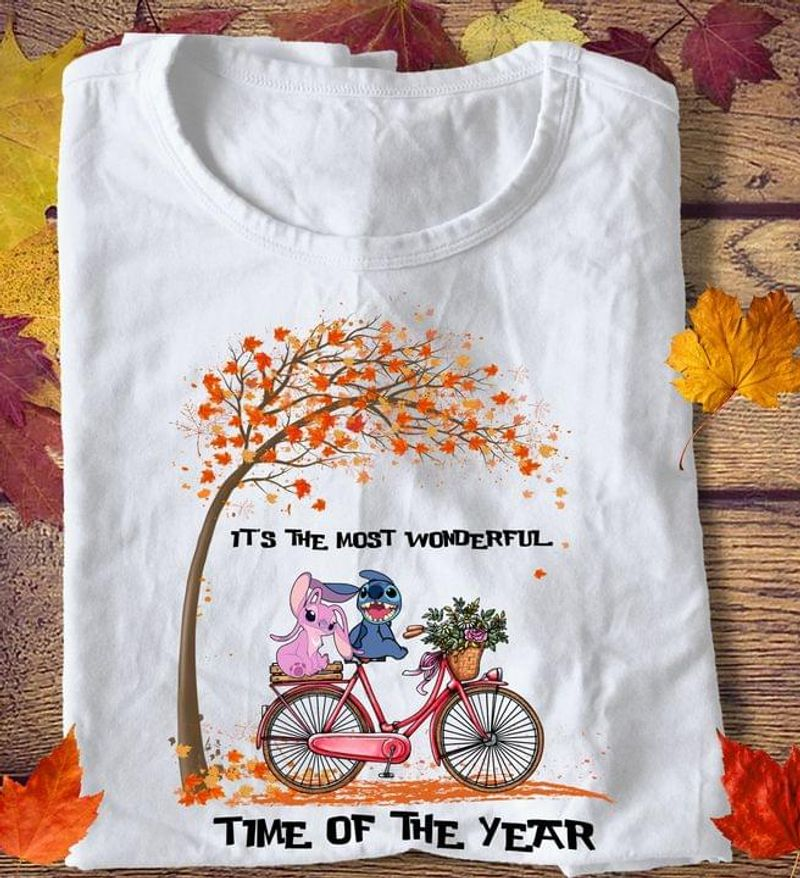 Stitch & Angel It's The Most Wonderful Time Of The Year Autumn Leaves Halloween Gift White T Shirt Men And Women S-6XL Cotton