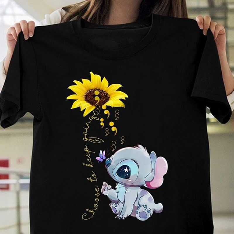 Stitch Baby Sunflower Choose To Keep Going Inspirational Quote Black T Shirt Men And Women S-6XL Cotton