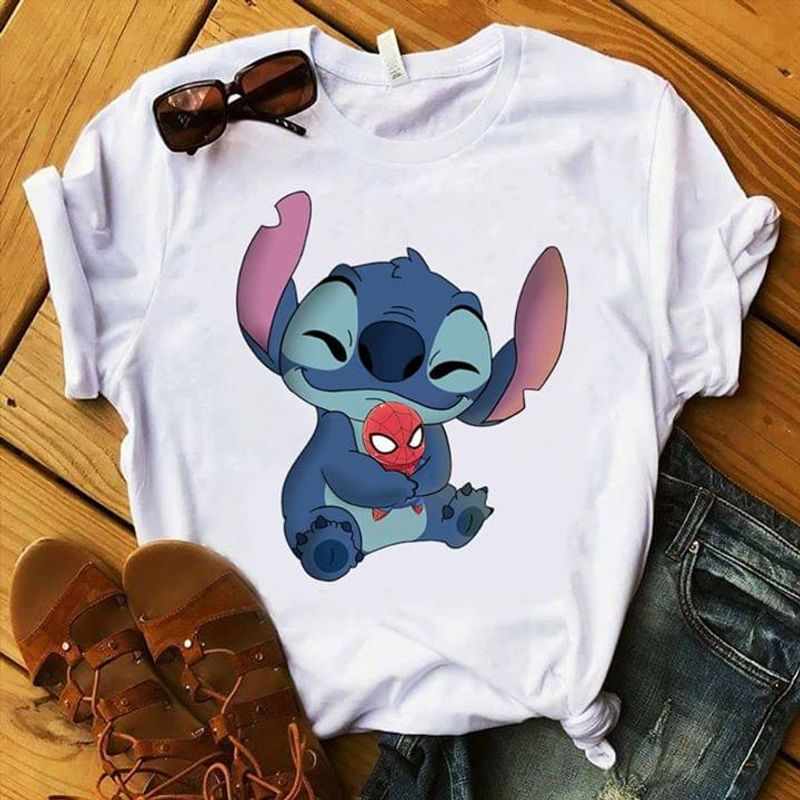Stitch Hugging Little Spider Man Lilo And Stitch Experiment 626 White T Shirt Men And Women S-6XL Cotton