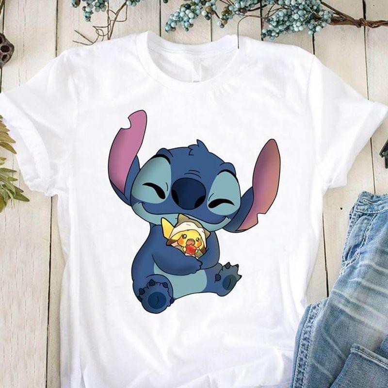 Stitch Hugs Pikachu Pokemon T-shirt Stitch & Lilo Pokmon Lovers Gift White T Shirt Men And Women S-6XL Cotton