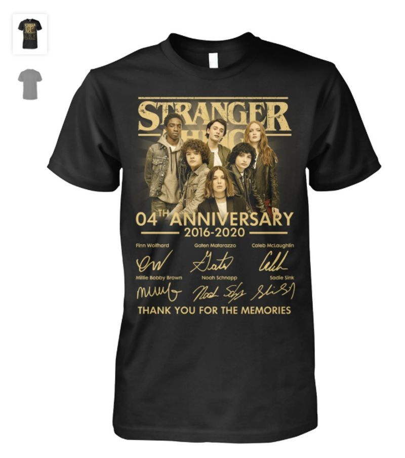 Stranger Things 4th Anniversary Signatures Thank You For The Memories T-shirt Black