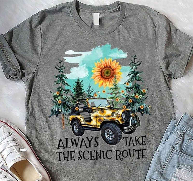 Sun Sunflowers Jeep Always Take The Scenic Route Gift For Sunflowers Lover Black T Shirt Men/ Woman S-6XL Cotton