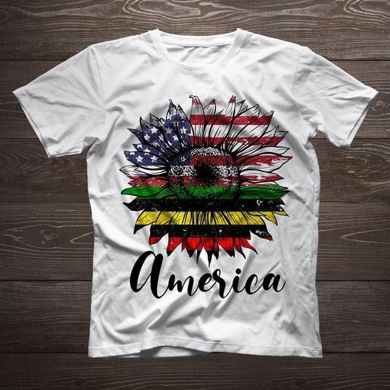Sunflower American Flag Pan African Flag America White T Shirt Men And Women S-6XL Cotton