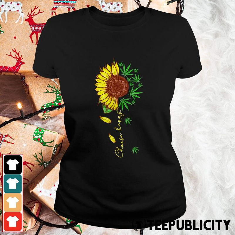 Sunflower Cannabis Choose Happy T-shirt Black