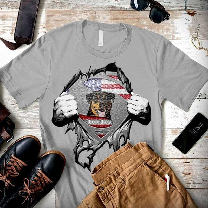 Super Rottweiler Independence Day 4th Of July Grey T Shirt Men/ Woman S-6XL Cotton