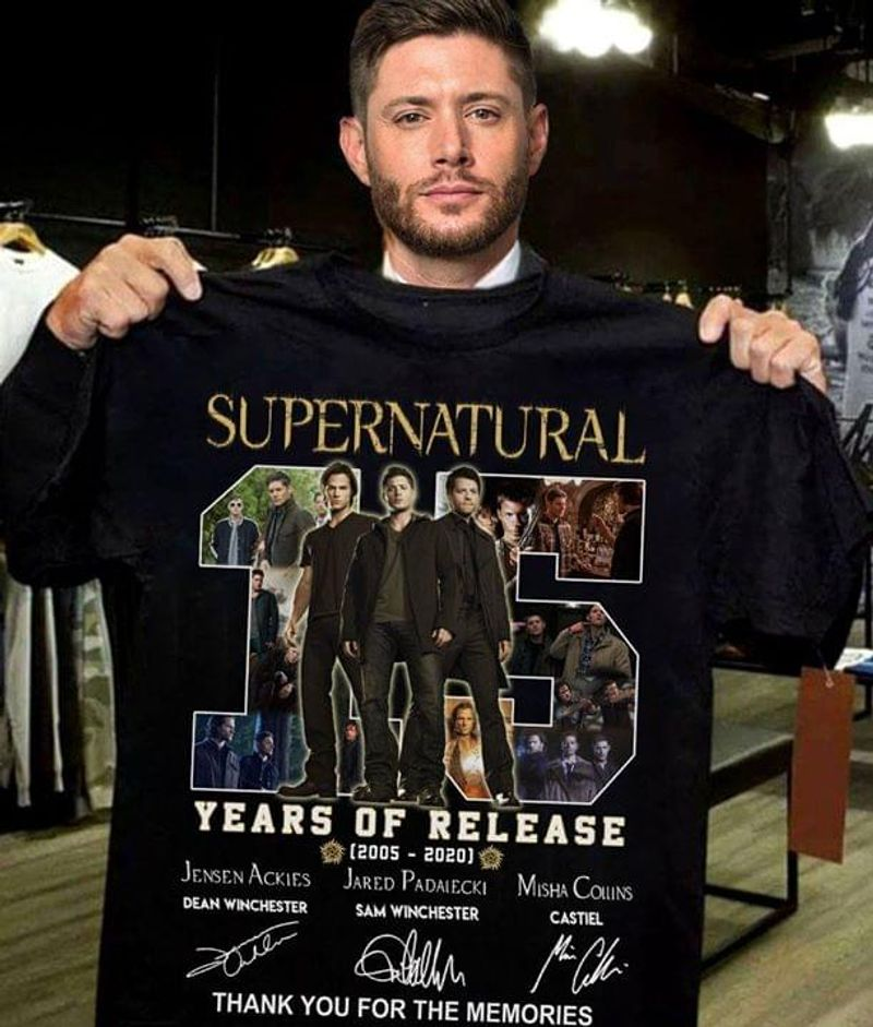 Supernatural 15 Years Of Release Signature Thank You For The Memories Black T Shirt Men And Women S-6XL Cotton