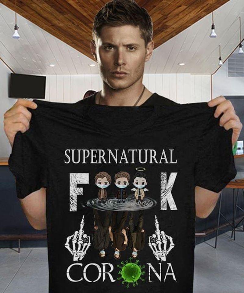 Supernatural Anti Pandemic T-Shirt Funny Supernatural Social Distancing Black T Shirt Men And Women S-6XL Cotton