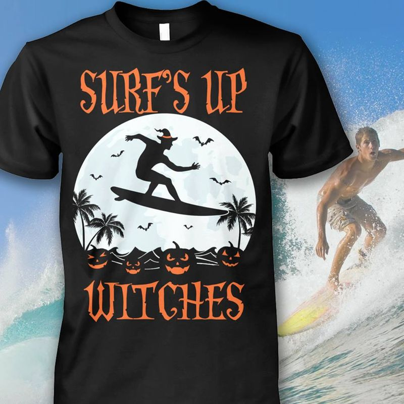 Surfs Up Witches T-shirt Black B7