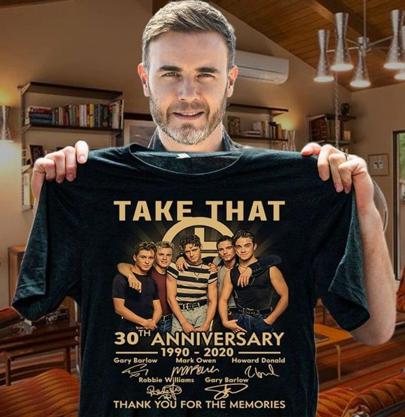 Take That 40th Anniversary Thank You For The Memories Signatures Black T Shirt Men/ Woman S-6XL Cotton