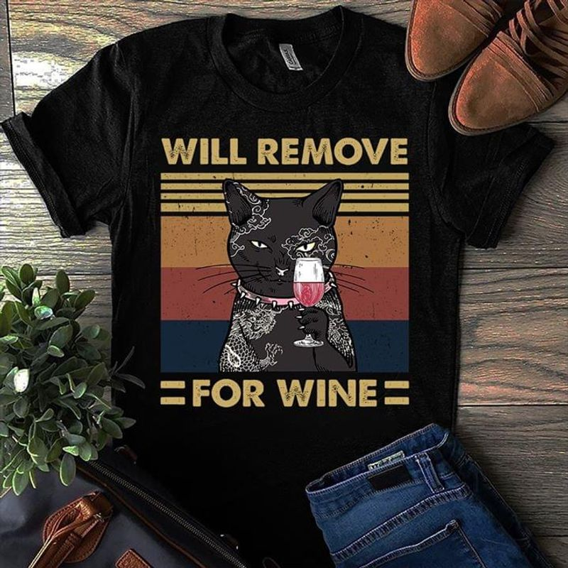 Tattooed Black Cat Will Remove For Wine Vintage T-Shirt Halloween Gift Black T Shirt Men And Women S-6XL Cotton