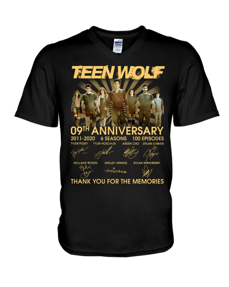 Teen Wolf Fans 09th Anniversary Thank You For The Memories Signature Black T Shirt Men And Women S-6XL Cotton