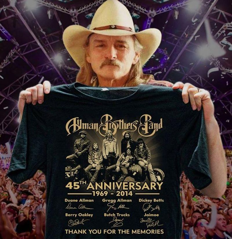 The Allman Brothers Band 45th Anniversary Thank You For The Memories Signatures T Shirt S-6XL Mens And Women Clothing