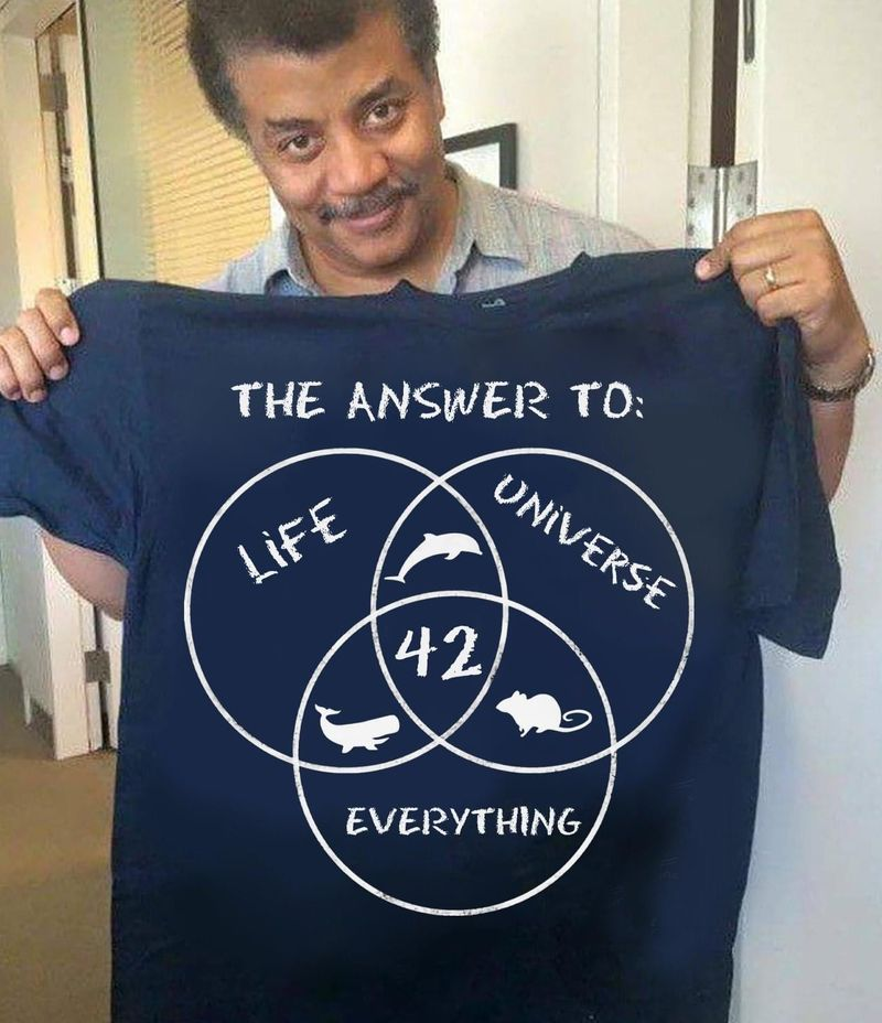 The Answer To Life Universe Everything 42 Tee Funny Science Fiction Scientist Gift Navy T Shirt Men And Women S-6XL Cotton