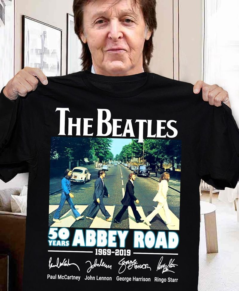 The Beatles 50 Years Abbey Road Signatures Black T Shirt