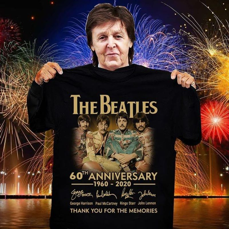 The Beatles Signatures 60th Anniversary 1960 2020 Thank You For The Memories T-shirt Black
