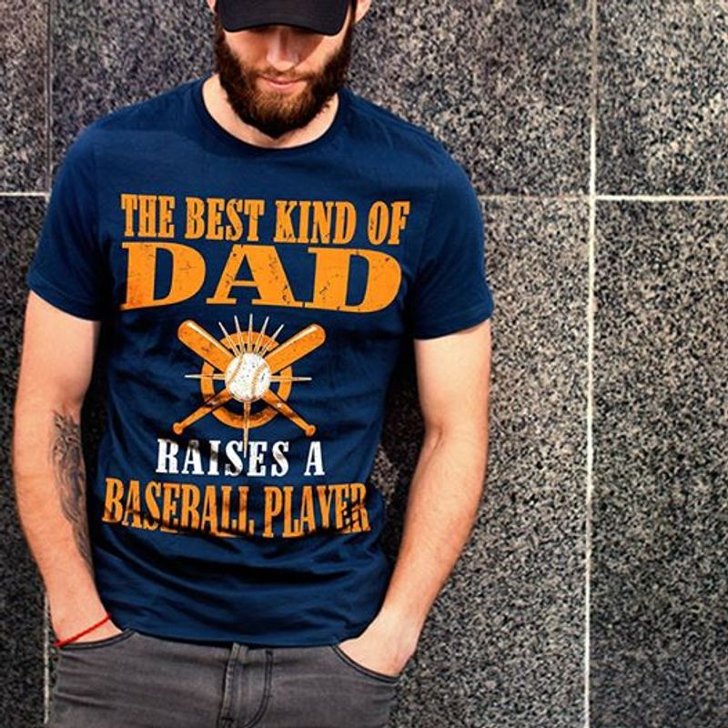 The Best Kind Of Dad Haises A Baseball Player T Shirt Navy B4