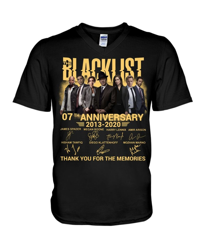 The Blacklist Movie Lover 07th Anniversary Thank You For The Memories Signature Black T Shirt Men And Women S-6XL Cotton