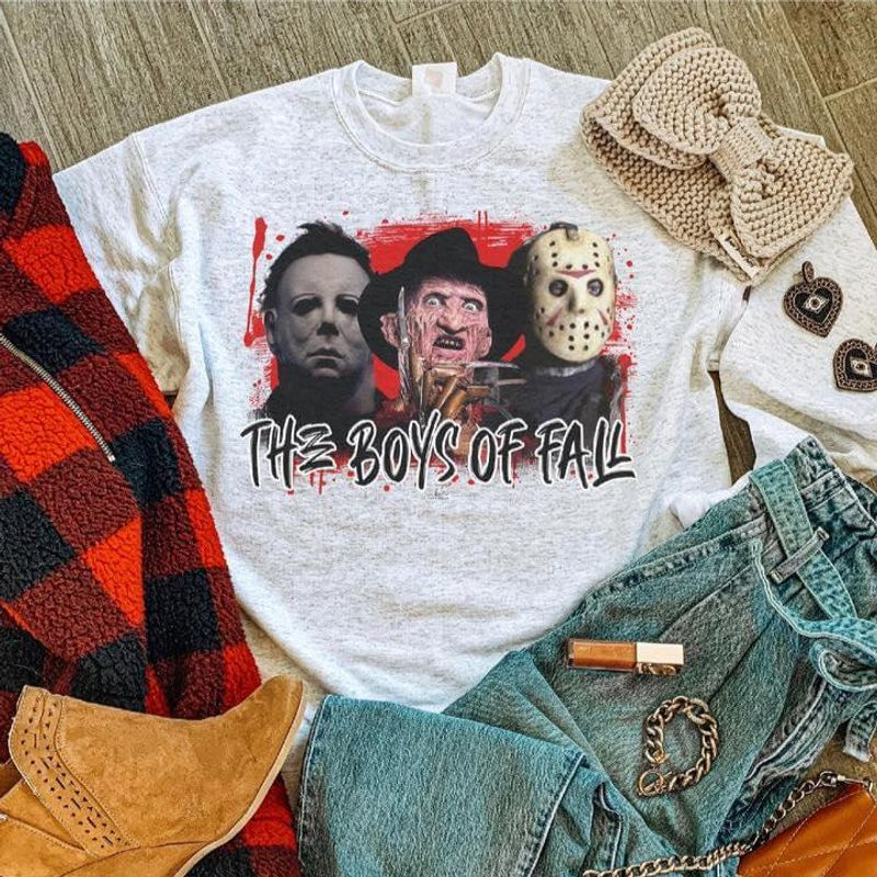 The Boys Of Fall Freddy Krueger Michael Myers Jason Voorhees For Halloween Day White T Shirt Men And Women S-6XL Cotton