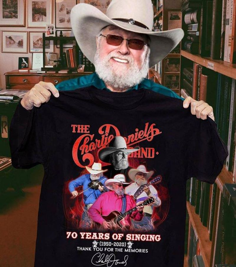 The Charlie Daniels Fans 70 Years Of Singging Thank You For The Memories Signature Black T Shirt Men And Women S-6XL Cotton