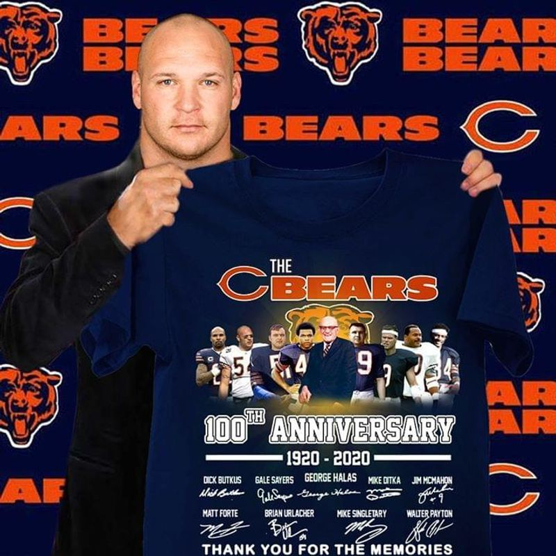 The Chicago Bears 100th Anniversary 1920 2020 Thank You For The Memories Signatures T Shirt Navy