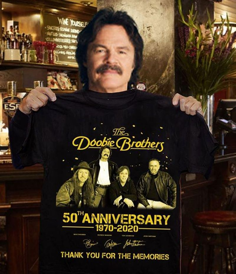 The Doobie Brothers 50th Anniversary 1970 - 2020 Signature Thank You For The Memories Black T Shirt Men And Women S-6xl Cotton
