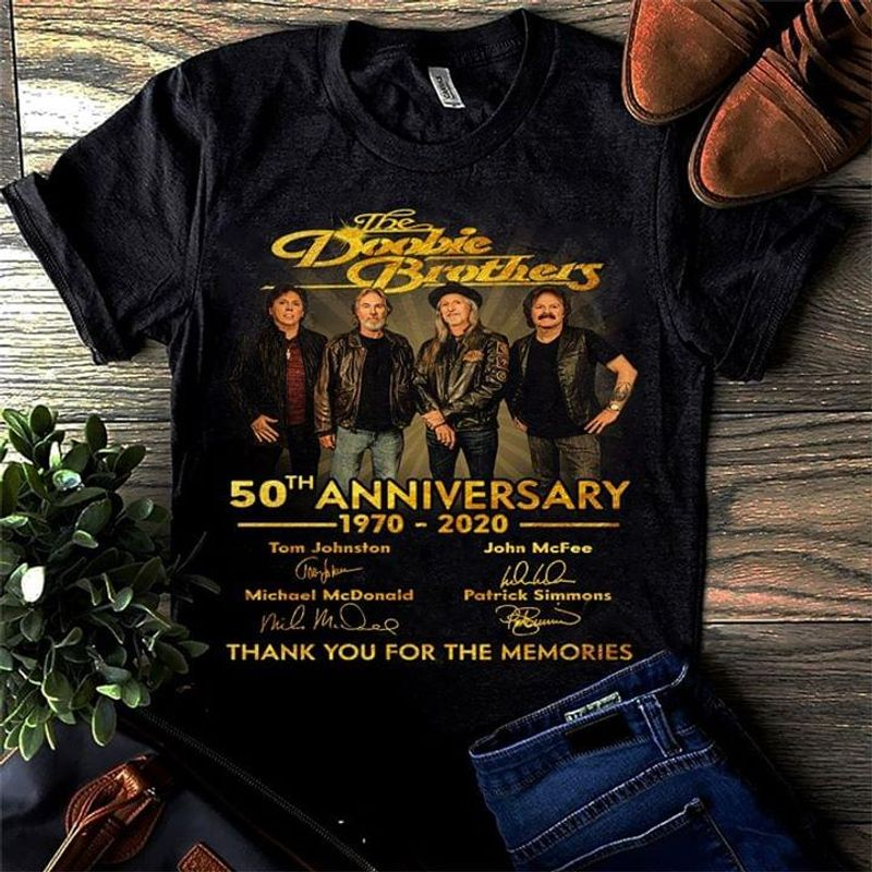 The Doobie Brothers Fans 50th Anniversary Thank You For The Memories Signature Black T Shirt Men/ Woman S-6XL Cotton