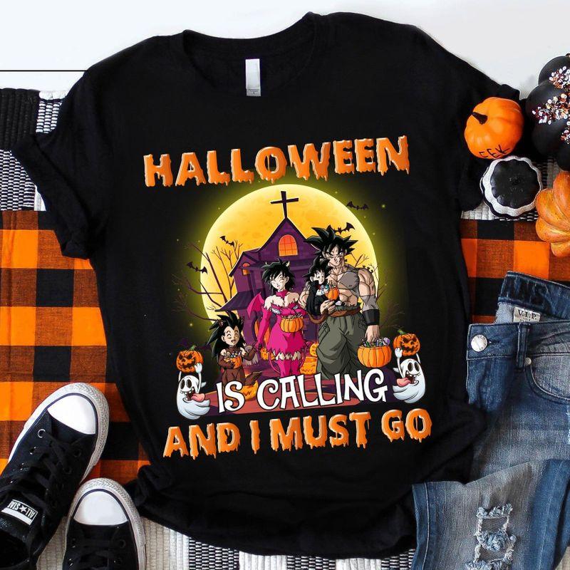 The Dragon Ball Halloween Is Calling And I Must Go T-shirt Supersaiyan Halloween Gift Black T Shirt Men And Women S-6XL Cotton