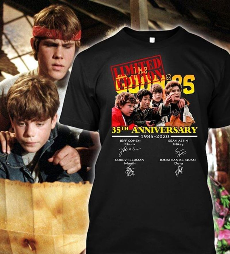 The Goonies 35th Anniversary Thank You For The Memories Signature Black T Shirt Men/ Woman S-6XL Cotton