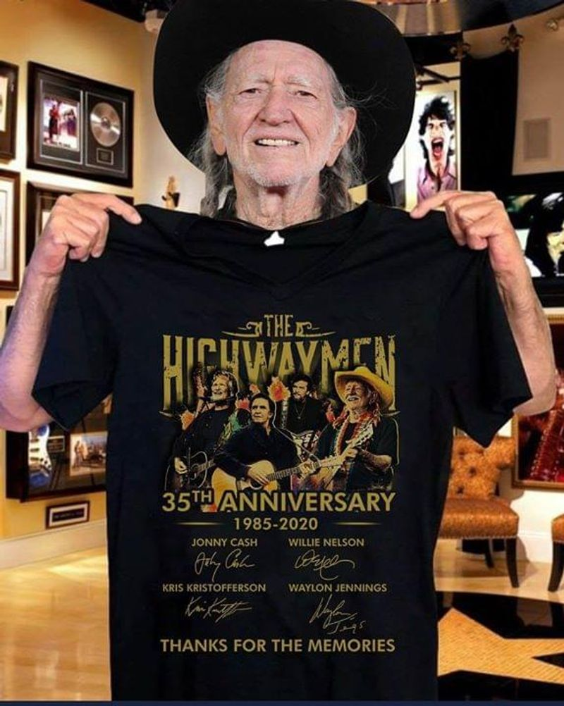 The Highwaymen 35th Anniversary 1985-2020 Thanks For The Memories Character Signature Black T Shirt Men/ Woman S-6XL Cotton