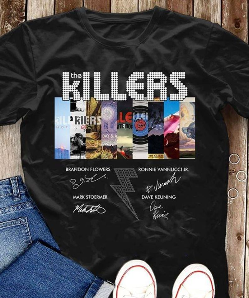 The Killers Albums Cover Main Character Signature Rock And Roll Black T Shirt Men And Women S-6XL Cotton