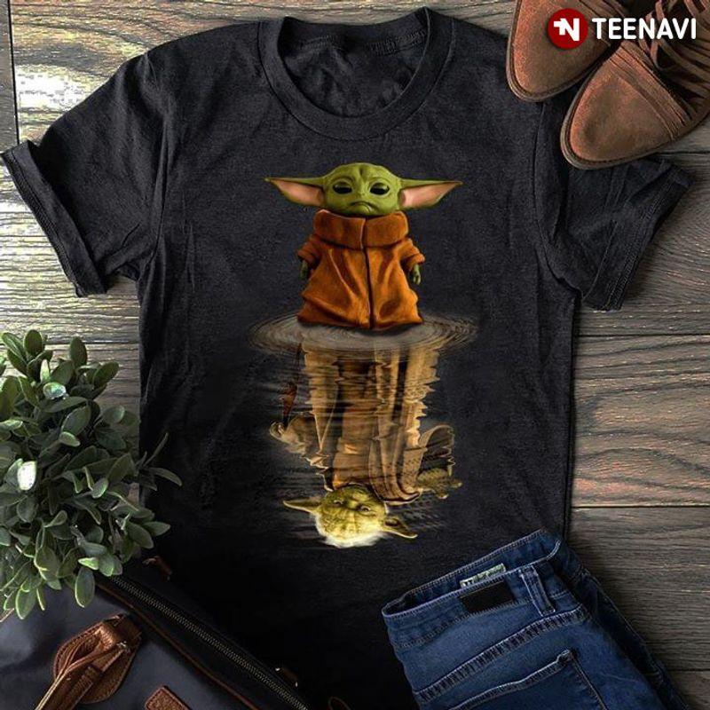 The Mandalorian Baby Yoda Star Wars Water Mirror Reflection T Shirt Black
