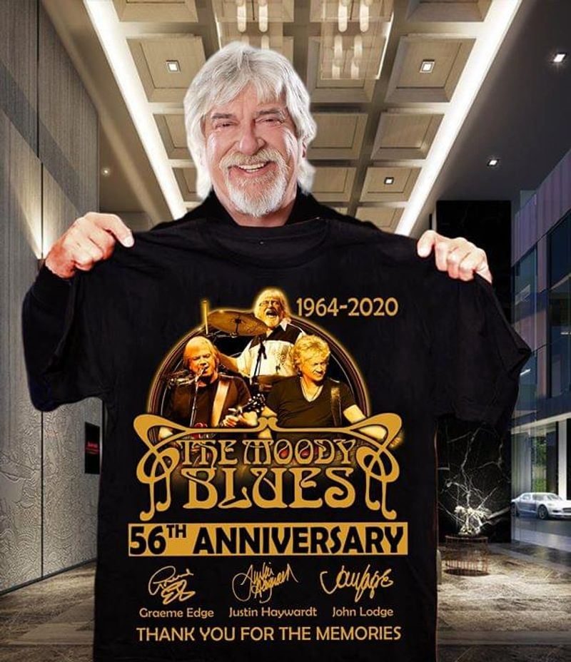 The Moody Blues Fans 56th Anniversary Thank You For The Memories Signature Black T Shirt Men And Women S-6XL Cotton