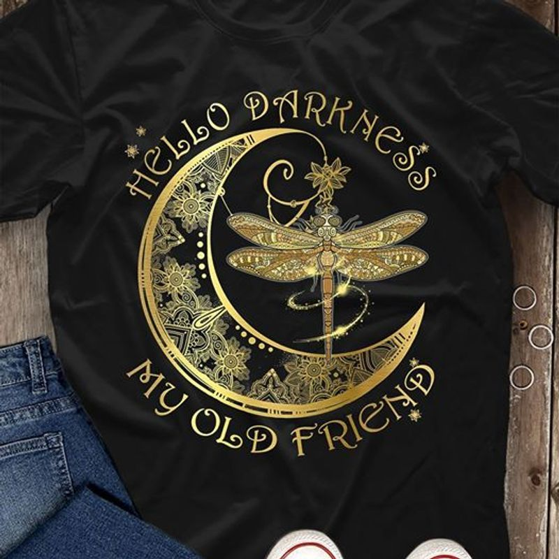 The Moon Hello Darkness My Old Friend T-shirt Black