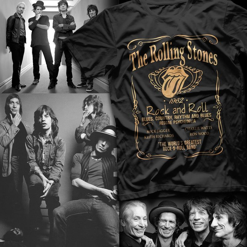 The Rolling Stones 1962 Rock And Roll Blues Country Rhythm And Blues Reggae Psychedelia T-shirt Black A2