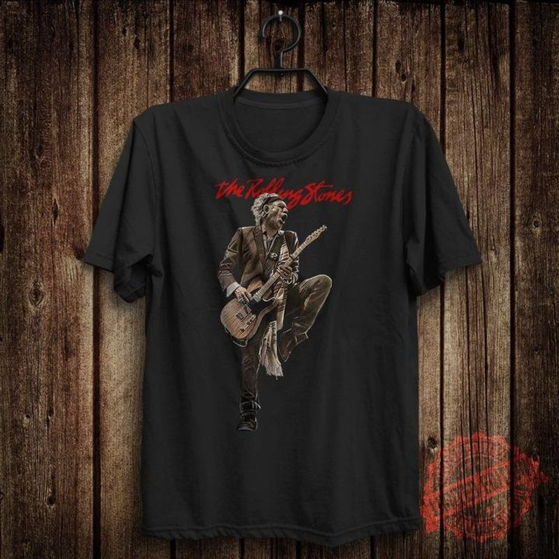 The Rolling Stones Keith Richards Playing Guitar Gift For Music Lovers Black T Shirt Men And Women S-6XL Cotton